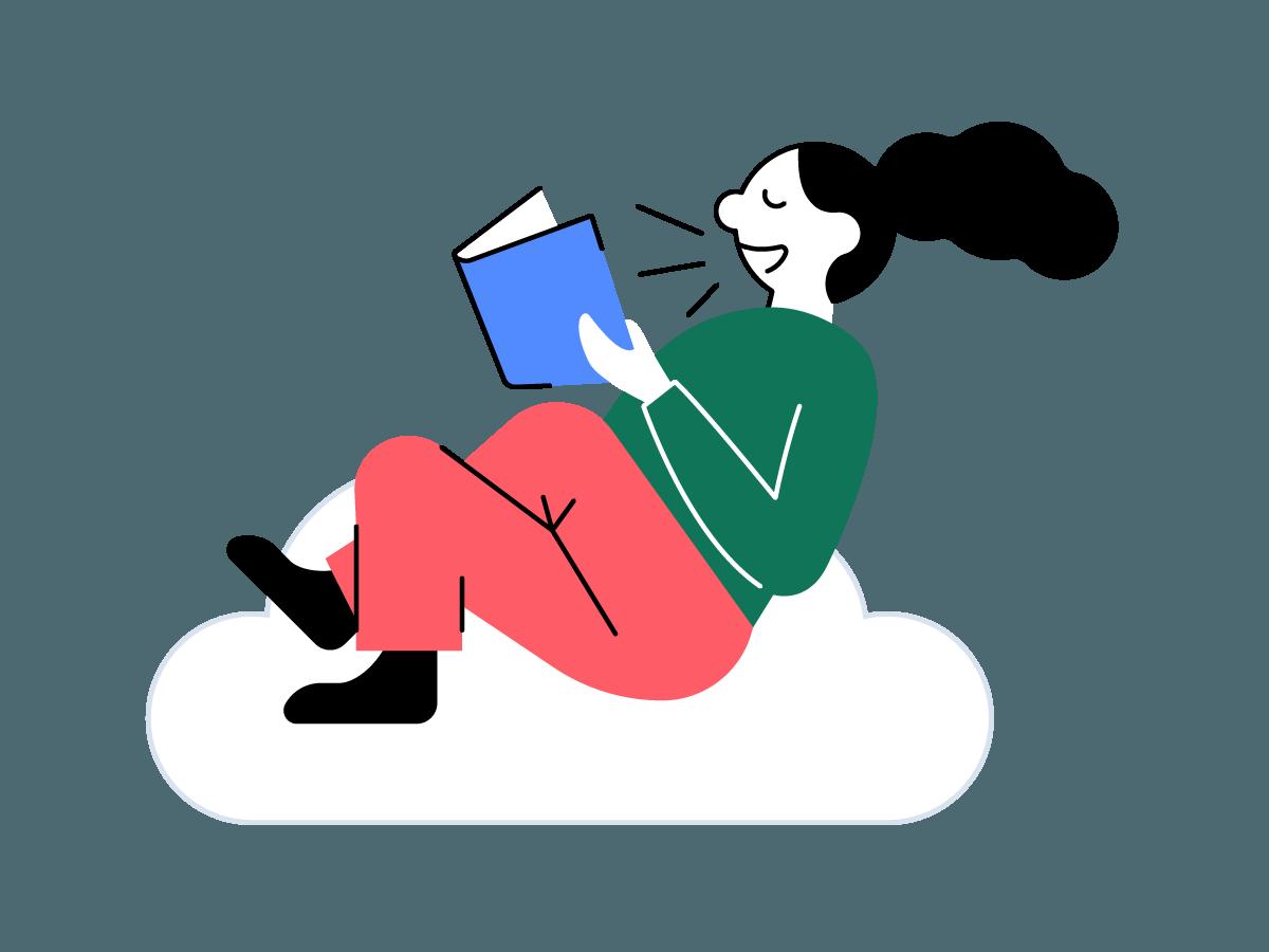 en person sitter og leser bok på en sky