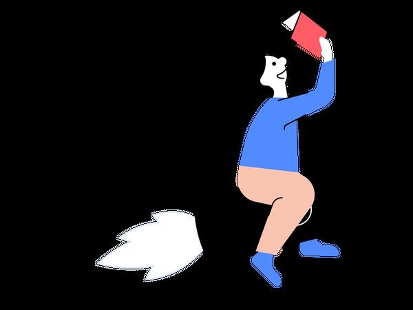 Illustrasjon av en måne som leser bok.