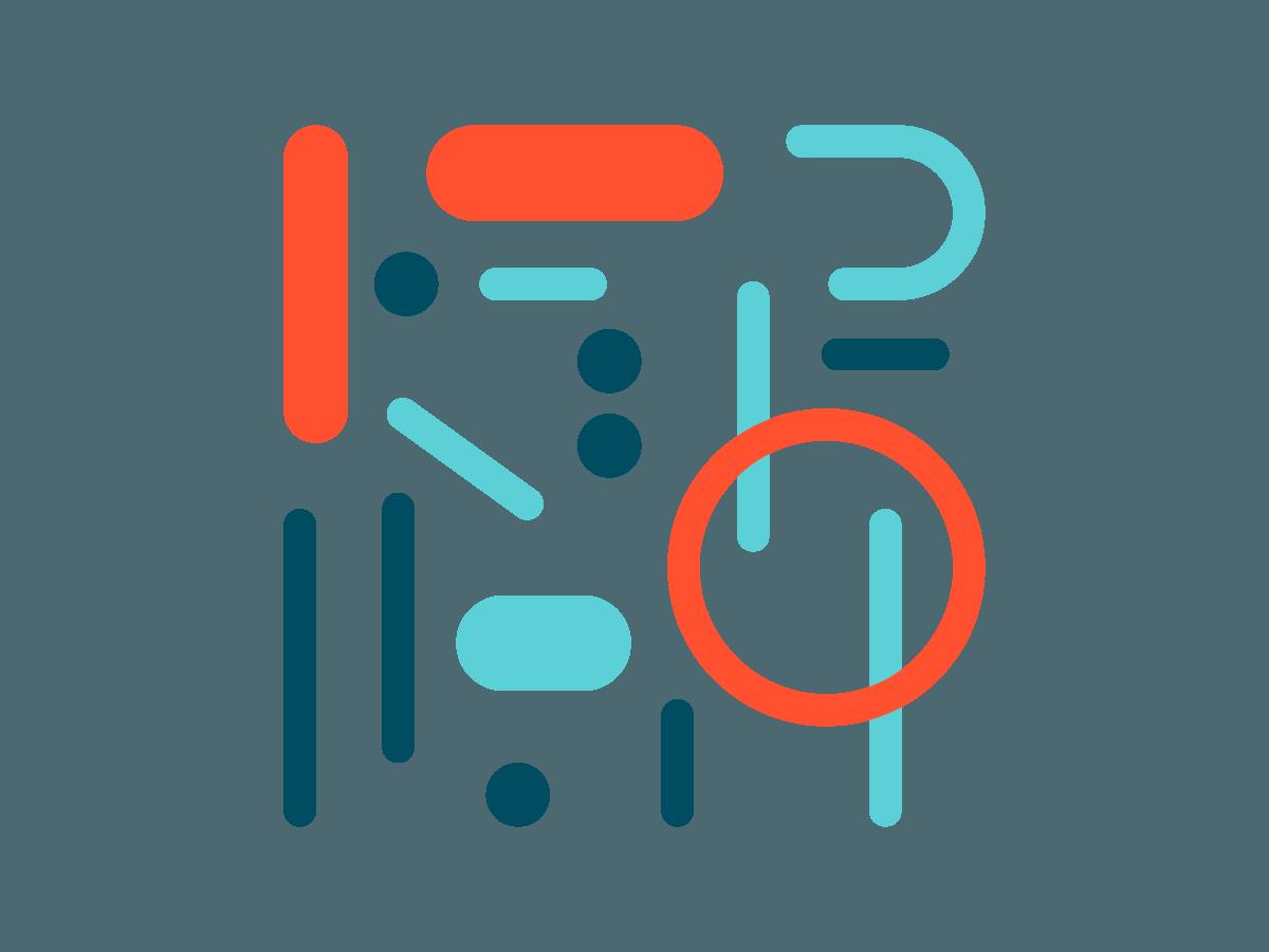 Abstrakte former i rødt, turkis og mørkeblå