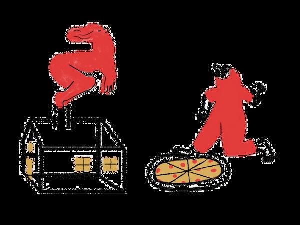 Blyanttegning av hus og pizza