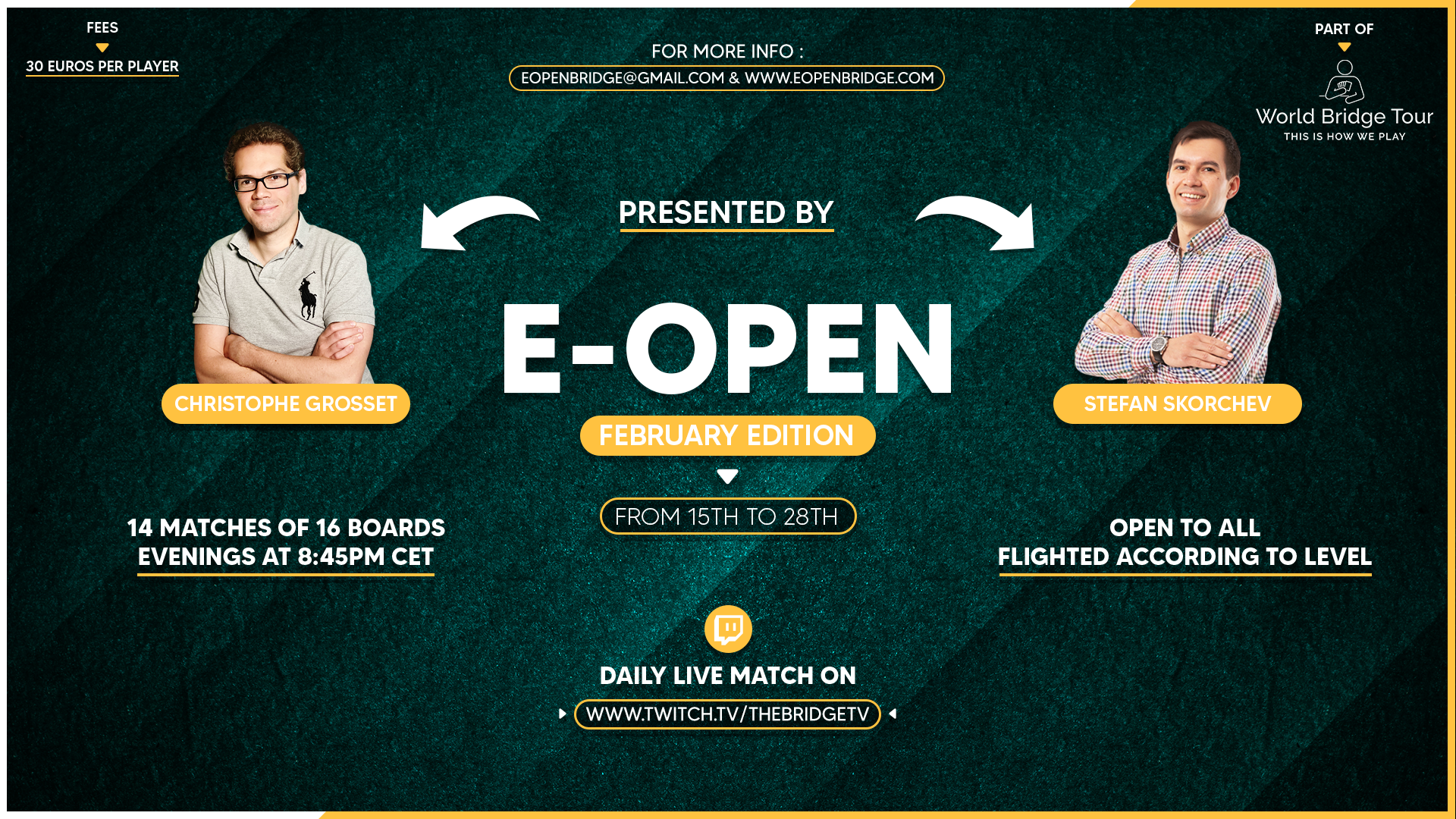 E-open banner image, from 15th to 28th of February. Click here to go to the results website.