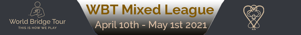 WBT Mixed League April banner image, from 10th to 1st of May. Click here to go to the results website.