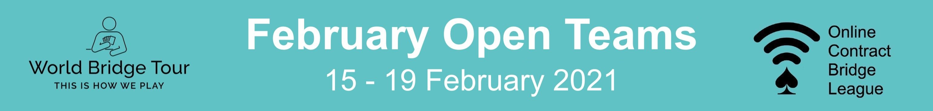 OCBL February Open Teams banner image, from 1th to 5th of February. Click here to go to the results website.
