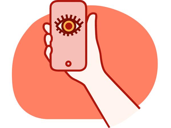 hånd som holder mobiltelefon