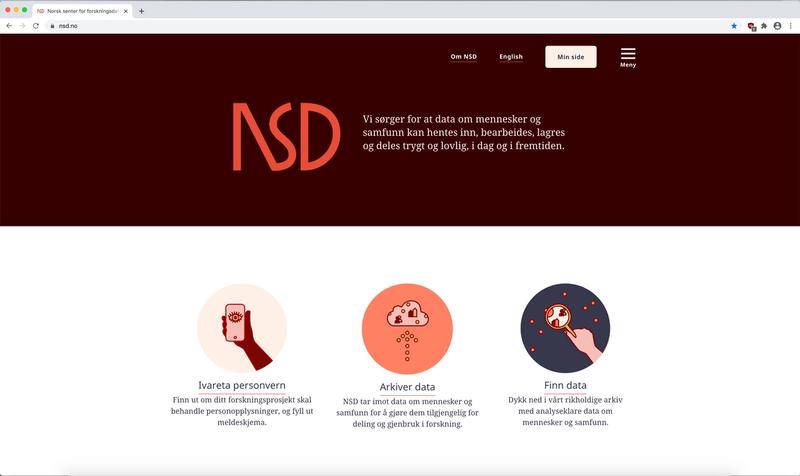 Skjermbilde av NSDs nye forside på nettet