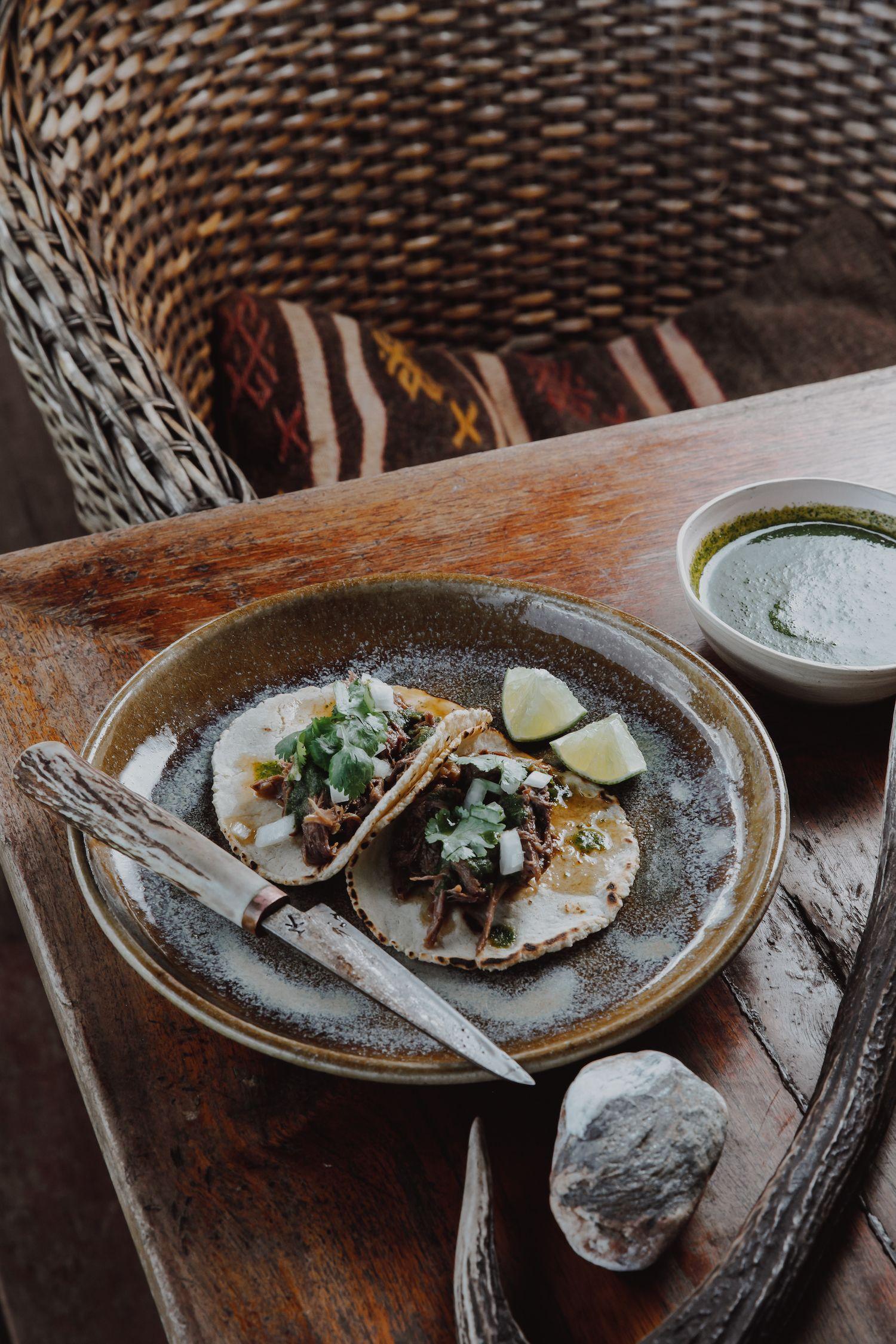Venison neck tacos served on a plate
