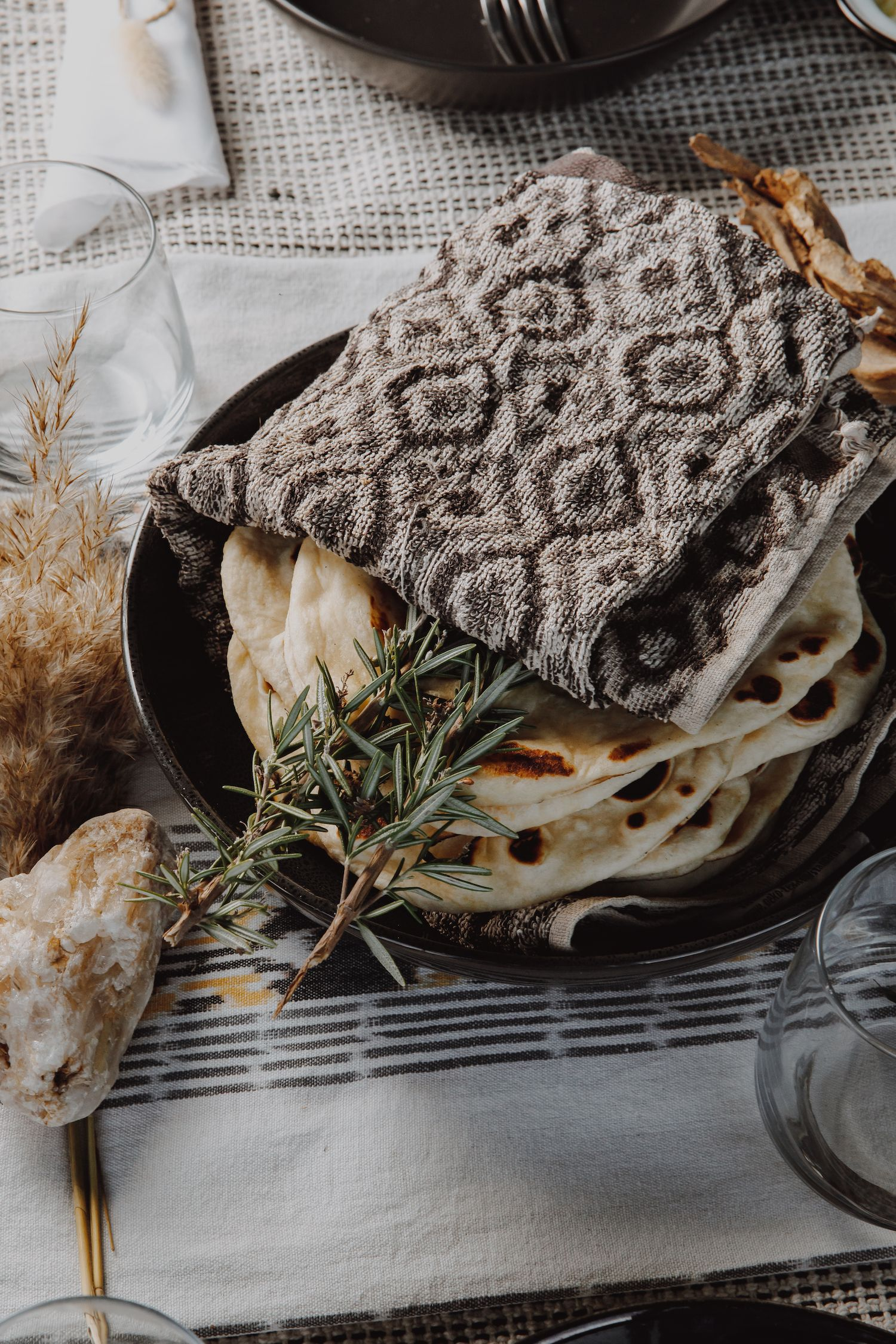 Venison Shwarma flatbread wrapped in a tea-towel