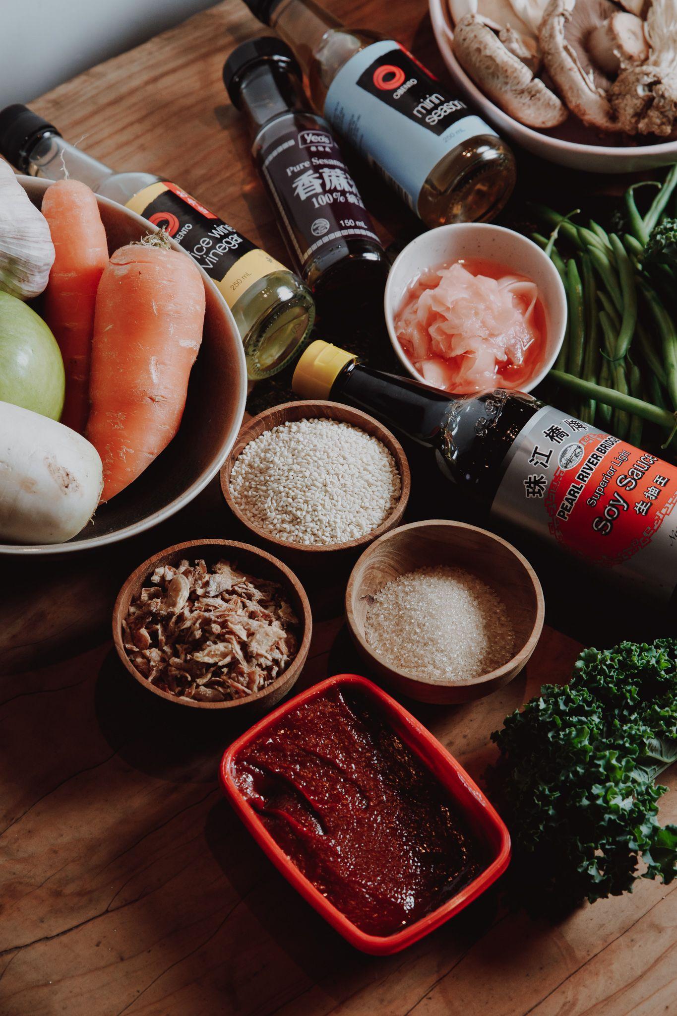 Bi bim bap ingredients