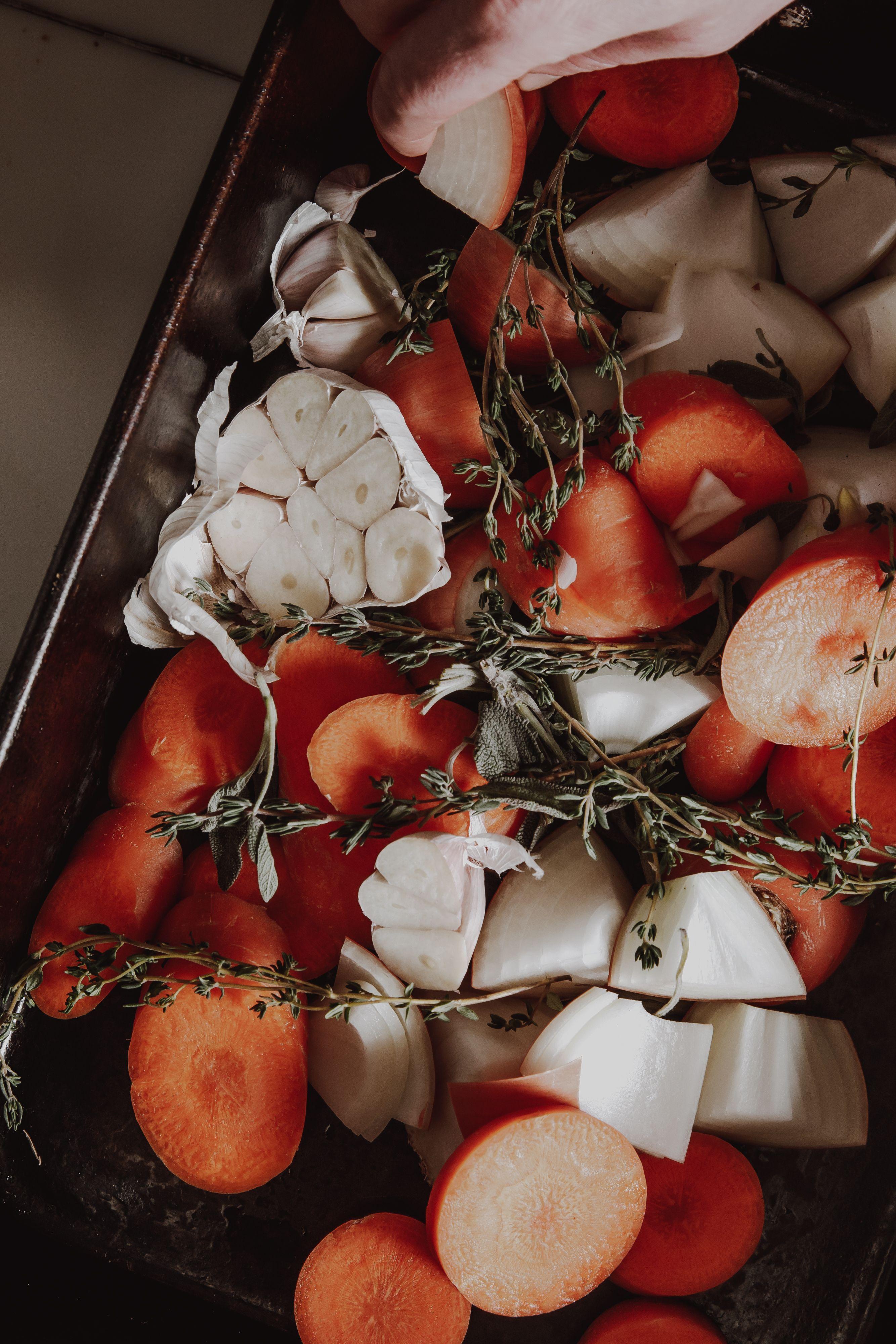 Roast vegetables in a pan