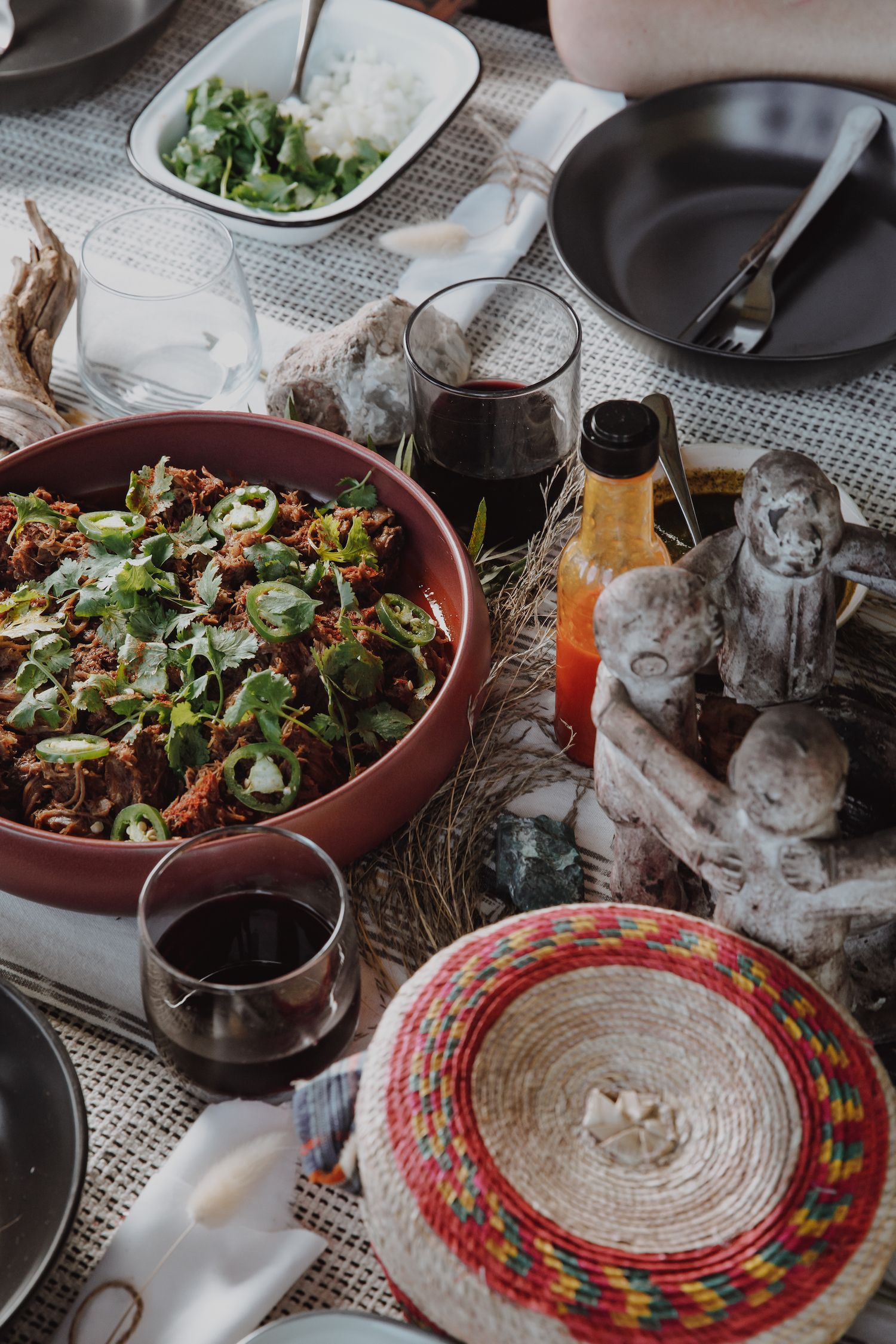 Venison neck tacos table setting