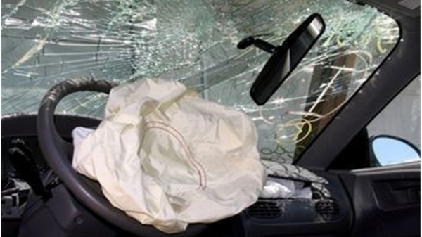 Crashed vehicle with airbag deployed