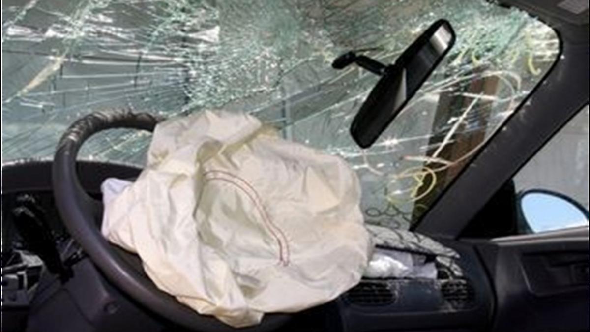 Crashed vehicle with airbag deployed