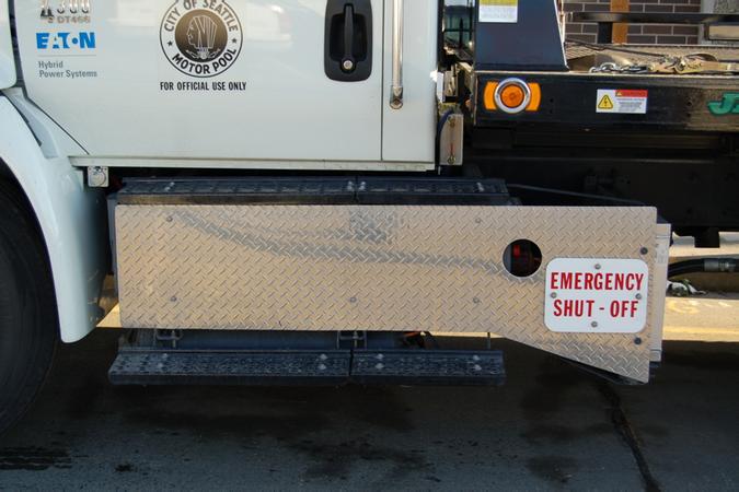 Hybrid truck shutdown button