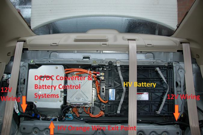 Honda Civic trunk with wiring and battery annotated