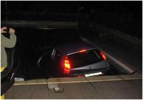 Submerged vehicle with functioning tail lights