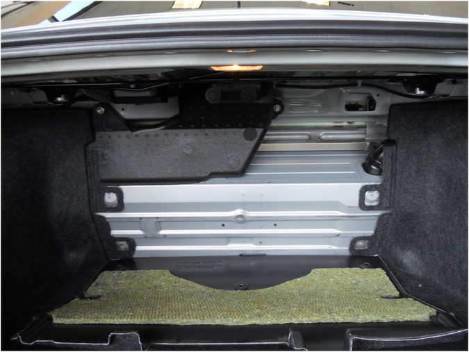 Honda Civic trunk before battery is exposed