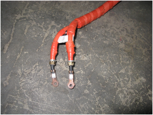 DC Orange wires from high voltage battery to inverter