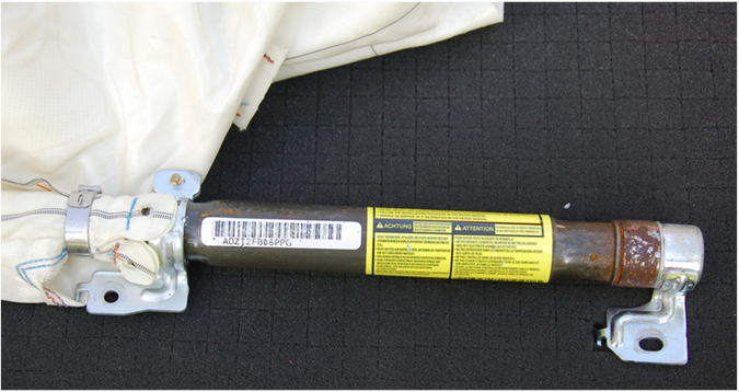 Compressed gas cylinder for curtain shield airbag