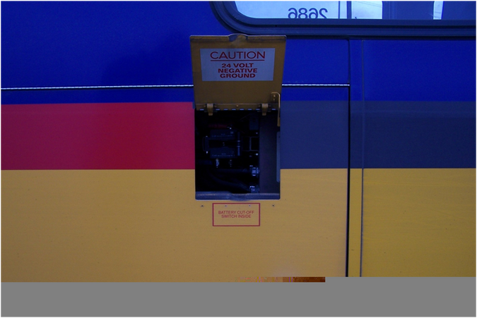 Example low-voltage disconnect switch on a New Flyer bus