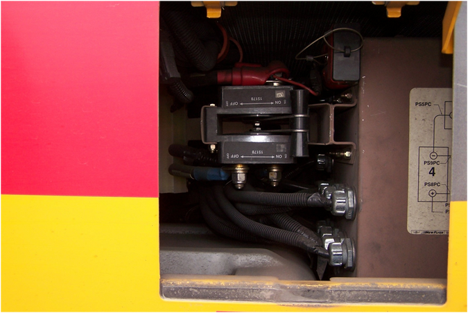 Low-voltage disconnect switch on a New Flyer bus installed upside-down