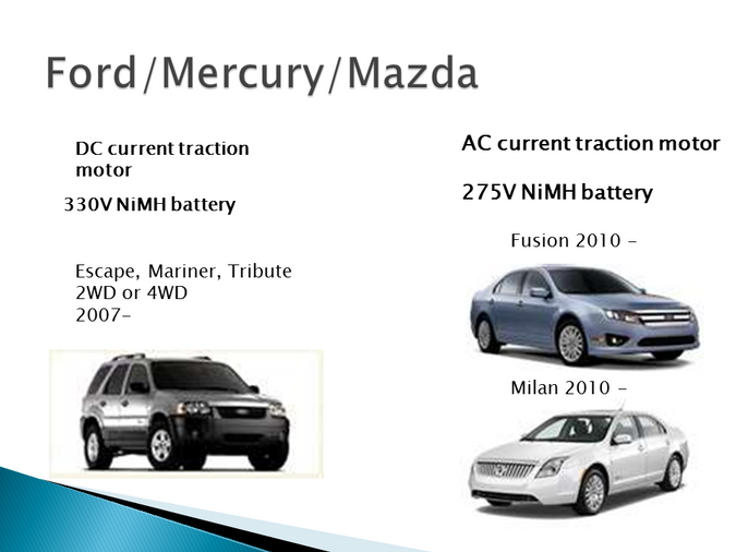 Ford, Mercury, and Mazda Hybrid Models