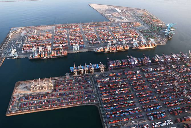 Aerial view of the Long Beach and Los Angeles ports