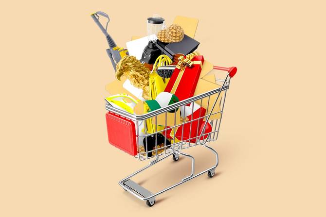 Shopping cart with holiday decorations and packages