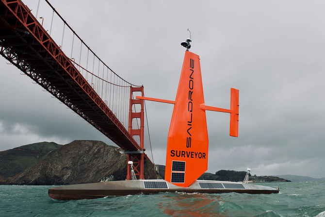 image of a red saildrone uncrewed vessel in San Francisco