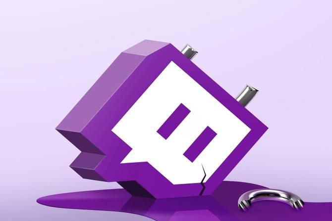 The Twitch logo as a broken lock leaking purple fluid