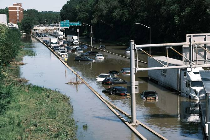 Cars stranded in floodwaters in the NYC area