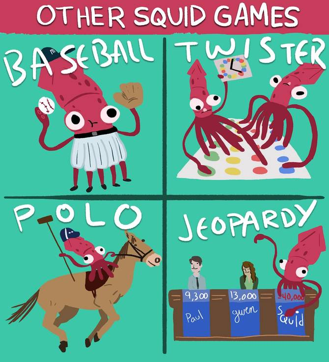 A cartoon about Squid Games showing squids performing various athletic achievements