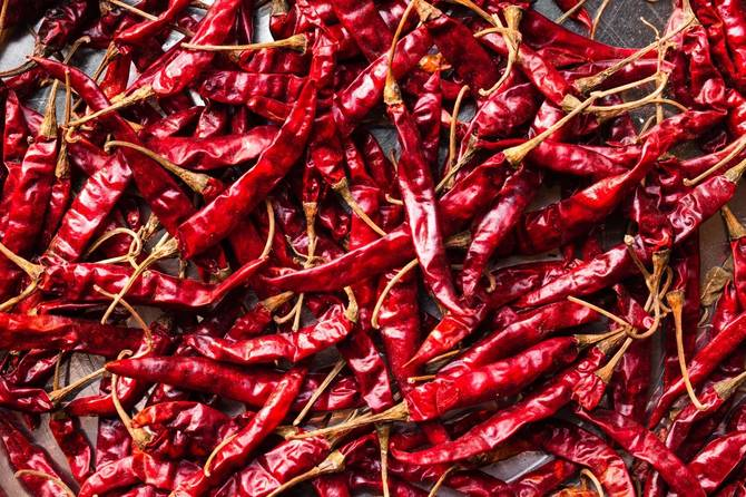 A pile of hot peppers.