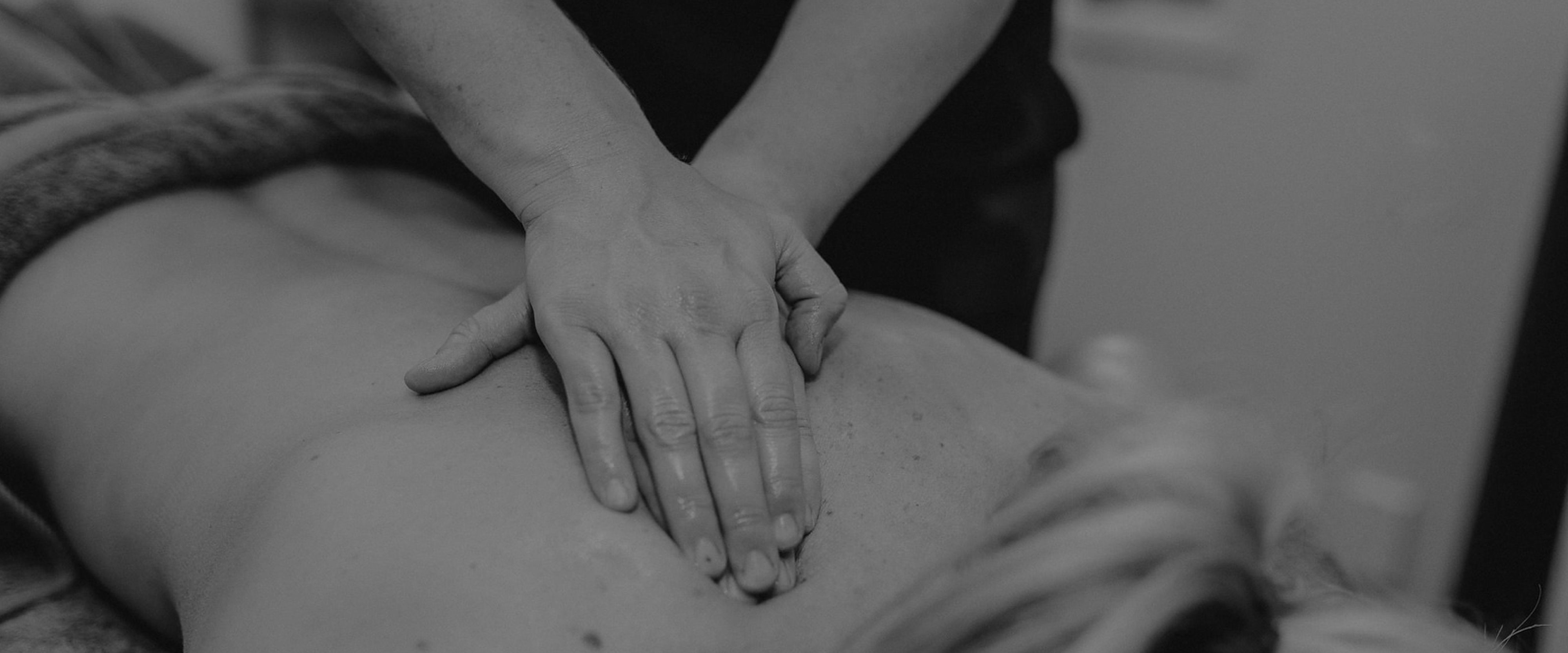 Client receiving a back massage