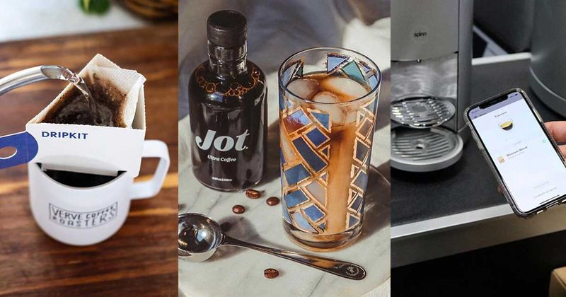Three images of various coffee products