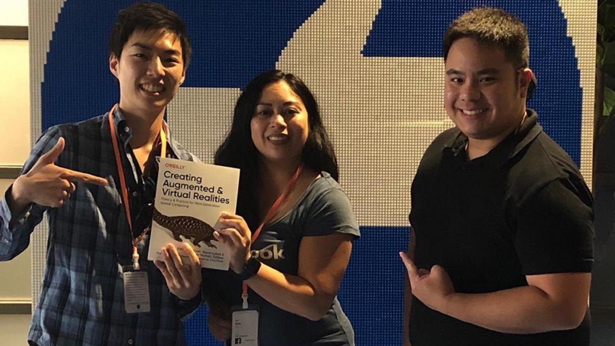 Nobuyuki, Erin, and Brian celebrating the translation of Creating AR VR in Japanese