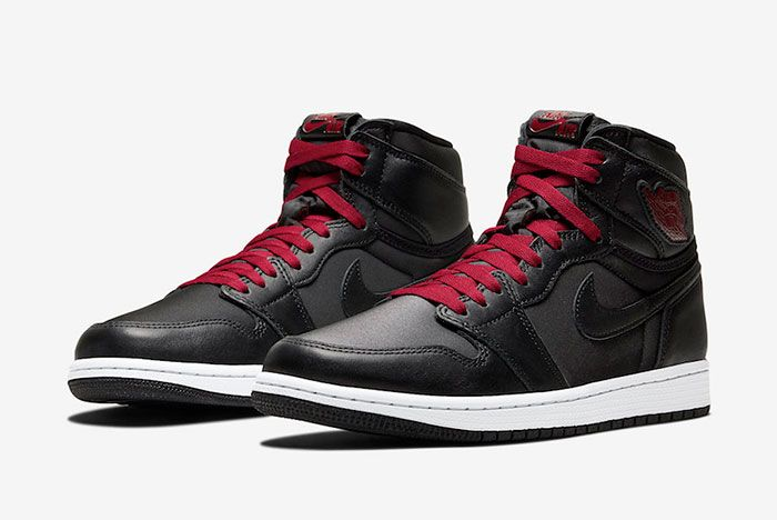 Air Jordan 1 Black Satin Gym Red 555088 060 Front Angle