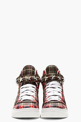 Givenchy Red Calfskin Plaid Tyson High Top 2