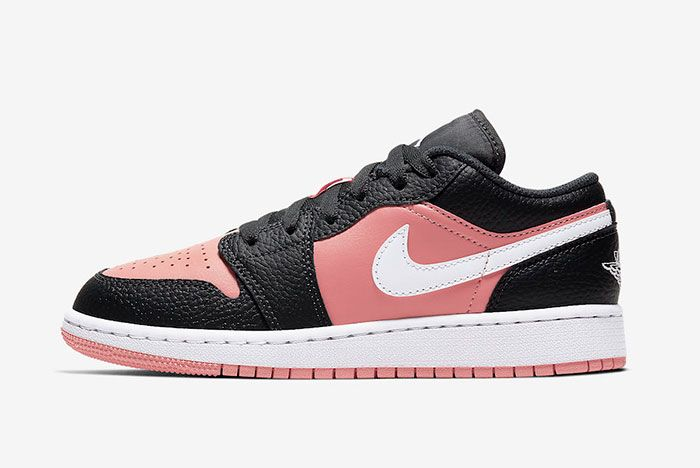 Air Jordan 1 Low Gs Pink Quartz 554723 016 Lateral Side Shot