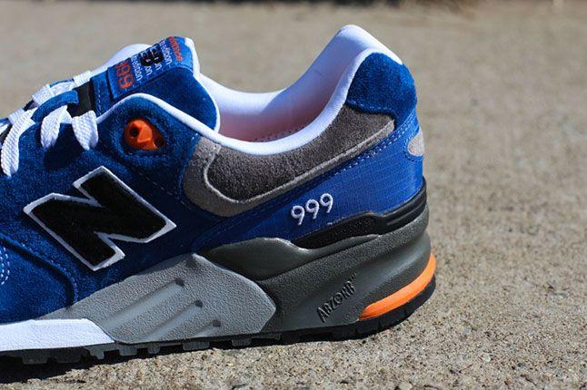 New Balance 999 Elite Blue Grey Orange Heel 1