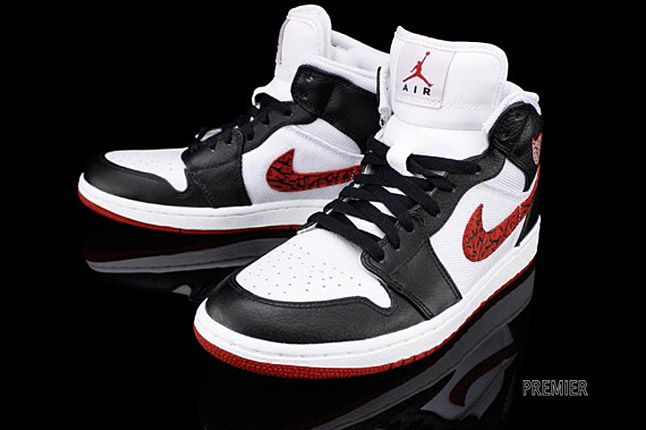 Air Jordan 1 Phat White Black Varsity Red Elephant 5 1