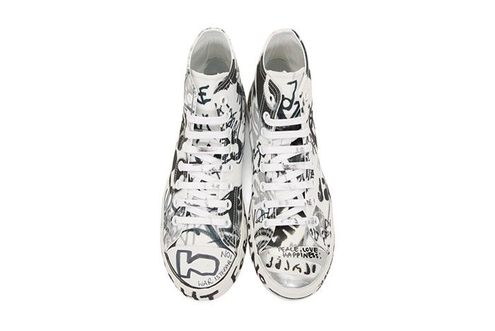 Vetements White Georgian Graffiti Sneaker Top Shot 7