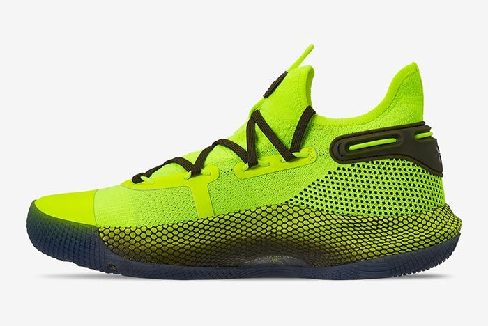 Hi Vis Yellow Under Armour Curry 6 Medial