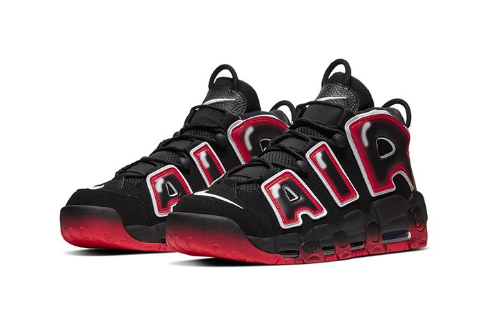 Nike Air More Uptempo Black Red Front Angle