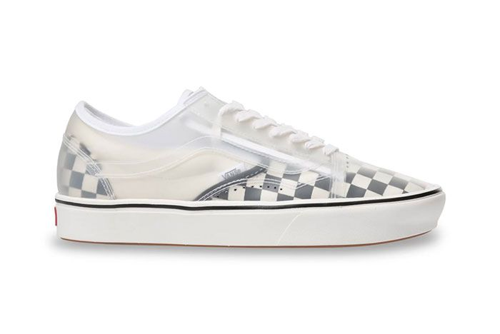 Vans Slip Skool Checkerboard Canvas Slip On Old Skool Hybrid White Checkerboard Side Shot