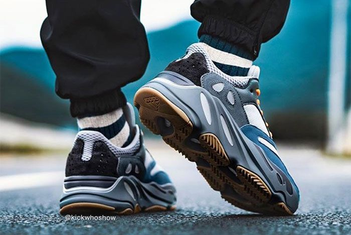 Adidas Yeezy Boost 700 Teal Blue On Foot Heel 3