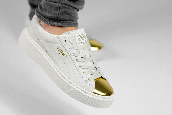 Puma Suede Platform Gold White Black Wmns On Feet 9