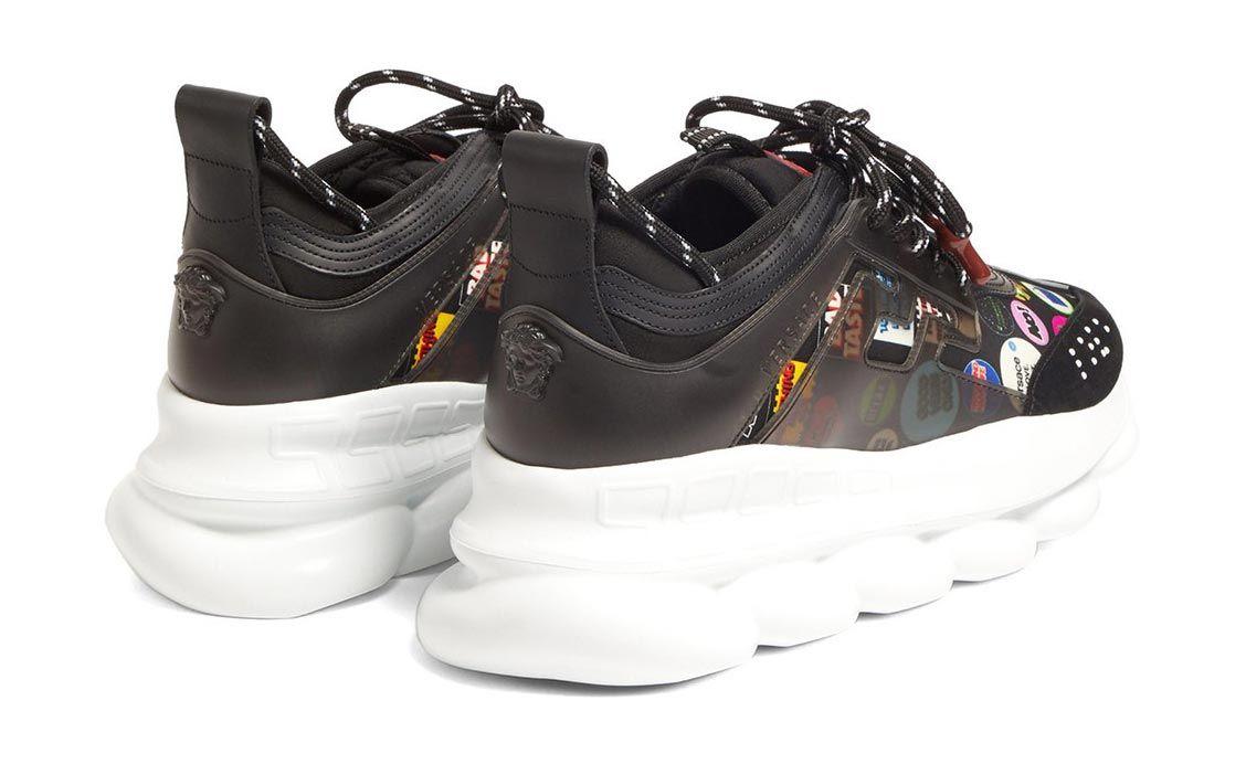 Versace Chain Reaction Slogan Printed Neoprene Sneaker Heel Angle Shot