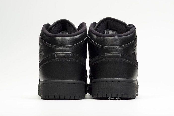 Air Jordan 1 Mid Deep Black Heel