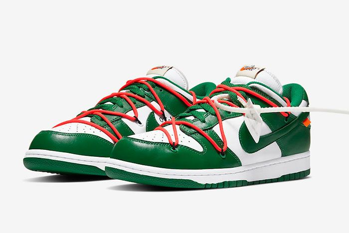 Off White Nike Dunk Low White Green Ct0856 100 Front Angle