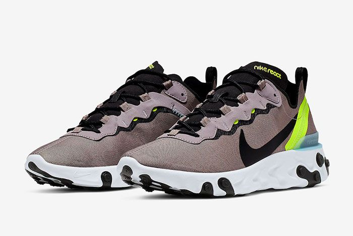 Nike React Element 55 Pumice Volt Bq6166 201 Three Quarter Lateral Side Shot
